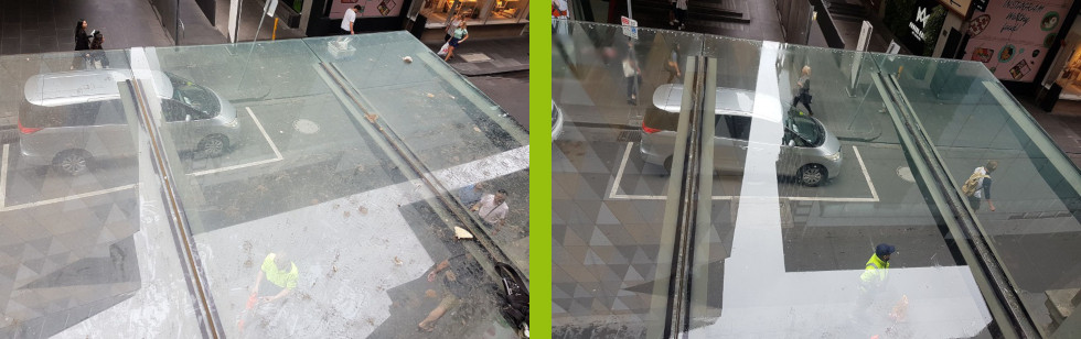 High awning glass cleaned