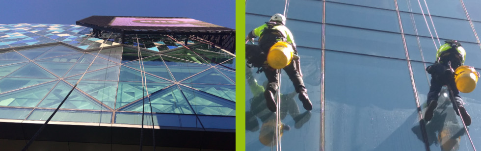 High profile and high traffic bldg glass cleaned by Rope Access