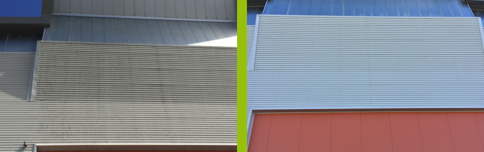 Metal louvres cleaned using water fed system